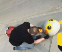 Petersburger turns road concrete spheres into Pokemons.